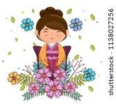 little japanese girl kawaii... | Shutterstock .eps vector #1138027256