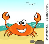 orange crab with a smile in the ... | Shutterstock .eps vector #1138039493