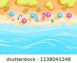 people swim and sunbathe.  top... | Shutterstock .eps vector #1138041248