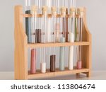 Test tubes in a pharmaceutical laboratory - stock photo