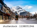 view of a busy street at banff... | Shutterstock . vector #1138051346