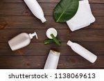 white towel  bottles of shampoo ... | Shutterstock . vector #1138069613