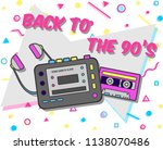 vintage flyer with music 90 s...   Shutterstock .eps vector #1138070486