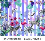 Exotic Animals On Blue Striped...