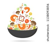 wok pan  tomato  paprika ...   Shutterstock .eps vector #1138093856