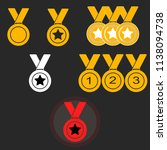 set gold medal with ribbon...   Shutterstock .eps vector #1138094738