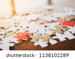 close up of puzzle pieces on... | Shutterstock . vector #1138102289