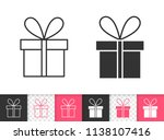 gift boxes black linear and... | Shutterstock .eps vector #1138107416