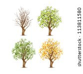Set Of Four Trees In Different...