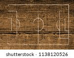 soccer field lines on a wood... | Shutterstock . vector #1138120526