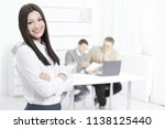 portrait of a woman manager on...   Shutterstock . vector #1138125440