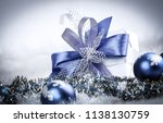 christmas gift and blue...   Shutterstock . vector #1138130759