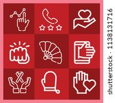 hand related set of 9 icons... | Shutterstock . vector #1138131716