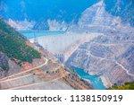 the deriner dam  a concrete... | Shutterstock . vector #1138150919