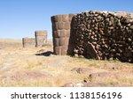 funerary towers on silustani on ... | Shutterstock . vector #1138156196