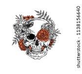 tattoo anatomy vintage floral... | Shutterstock . vector #1138156640