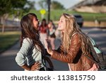 two excited female teenage... | Shutterstock . vector #113815750