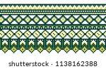 seamless vector border. folk... | Shutterstock .eps vector #1138162388