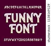 funny alphabet font. uppercase... | Shutterstock .eps vector #1138169129