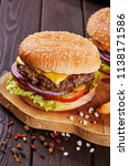 tasty fresh meat burgers with... | Shutterstock . vector #1138171586