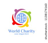 world charity logo template.... | Shutterstock .eps vector #1138174160