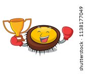 boxing winner sea urchin mascot ... | Shutterstock .eps vector #1138177049