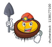 miner sea urchin mascot cartoon | Shutterstock .eps vector #1138177100