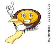 with menu sea urchin mascot... | Shutterstock .eps vector #1138177103