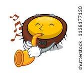 with trumpet sea urchin mascot... | Shutterstock .eps vector #1138177130