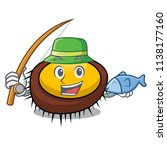 fishing sea urchin mascot... | Shutterstock .eps vector #1138177160