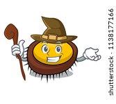 witch sea urchin mascot cartoon | Shutterstock .eps vector #1138177166