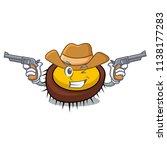 cowboy sea urchin character... | Shutterstock .eps vector #1138177283