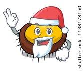 santa sea urchin mascot cartoon | Shutterstock .eps vector #1138178150