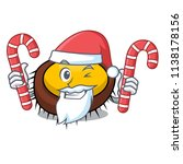 santa with candy sea urchin... | Shutterstock .eps vector #1138178156