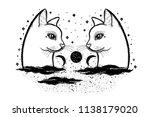 sketch graphic illustration cat ... | Shutterstock .eps vector #1138179020