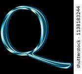 reflective blue glass letter q... | Shutterstock . vector #1138183244