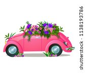 vintage pink car with growing... | Shutterstock .eps vector #1138193786