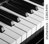 Piano Keys Closeup Monochrome