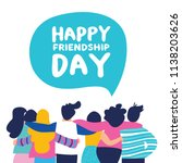 happy friendship day greeting... | Shutterstock .eps vector #1138203626