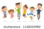a family to jump. | Shutterstock .eps vector #1138203980