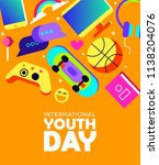 international youth day... | Shutterstock .eps vector #1138204076