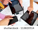 hands of people working with... | Shutterstock . vector #113820514