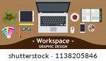 graphic designer workspace... | Shutterstock .eps vector #1138205846