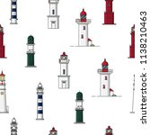 pattern with lighthouses.... | Shutterstock .eps vector #1138210463