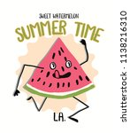 slogan and watermelon drawing... | Shutterstock .eps vector #1138216310