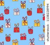 seamless hand drawn christmas ...   Shutterstock .eps vector #1138228994