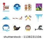 artic icon set. polar bears... | Shutterstock .eps vector #1138231106