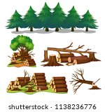 a set of wood element... | Shutterstock .eps vector #1138236776