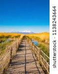 wooden bridge walkway path on...   Shutterstock . vector #1138243664
