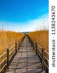 wooden bridge walkway path on...   Shutterstock . vector #1138243670